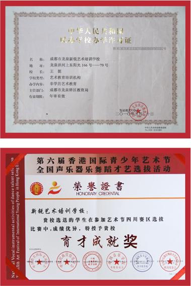 成都新锐艺术威廉希尔网页版学校办学许可证和教育局颁发的荣誉证书